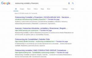 Listado de búsqueda en Google